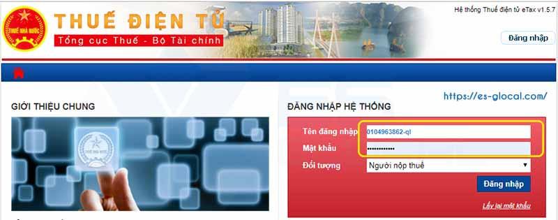 Đăng nhập vào trình quản lý thuế điện tử