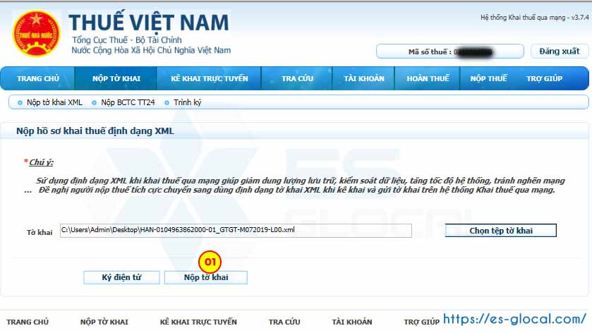 Nộp tờ khai thuế qua mạng iHTKK