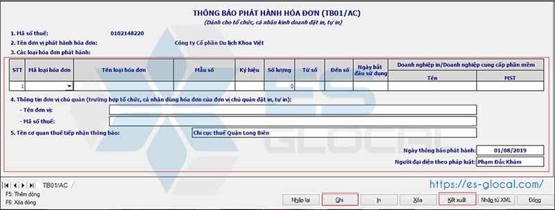 Lập thông báo phát hành hóa đơn điện tử qua HTKK 3