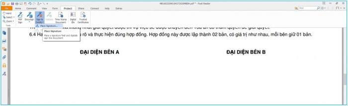 Cách ký chữ ký số vào file văn bản, hợp đồng, tờ khai với phần mềm Foxit Reader