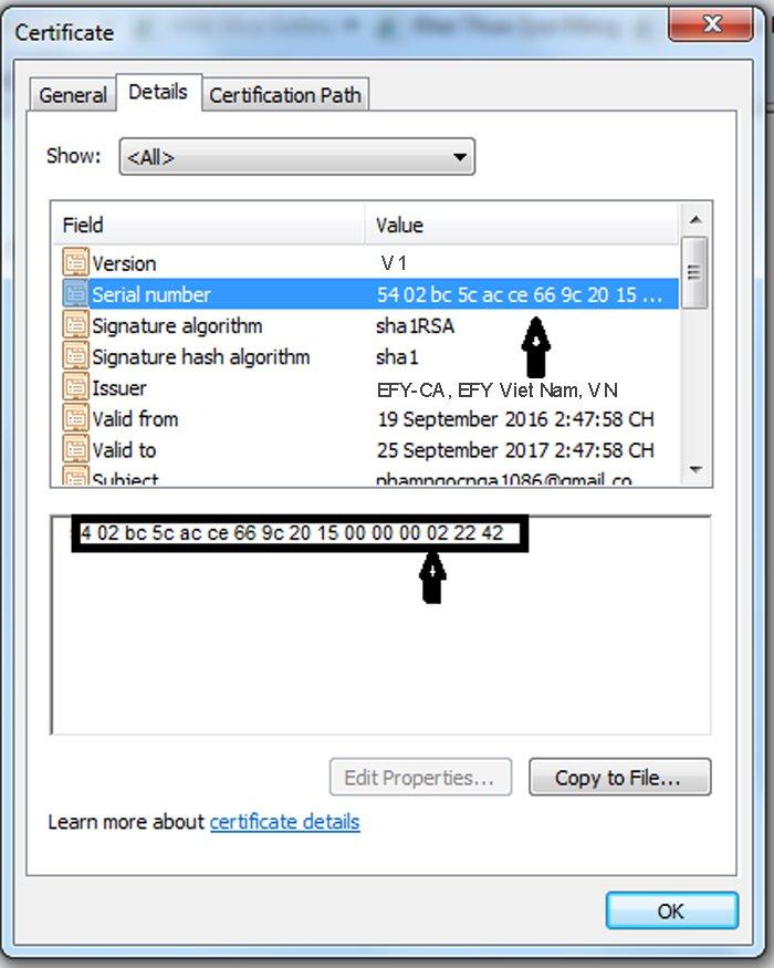 Cách kiểm tra thời hạn chữ ký số efy-ca